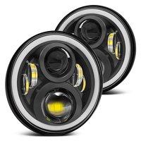 For Hummer H1 H2 Led Headlight 60w 7 Inch LED Headlights High Low Beam Angel Eye
