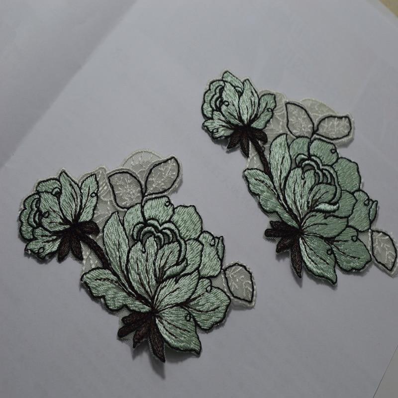 2P Sky blue floare și frunze în formă de frunze solubile în apă îmbrăcăminte îmbrăcăminte lipitoare patch aplicație vestimentară decorativă
