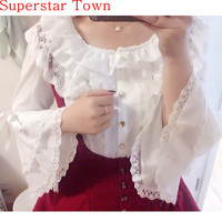 2016 MagicPotion Gothic LOLITA Camicetta Camicia Dolores Foschia Cosplay Kawaii Lo Peplum Top White Lace Chiffon Camicetta