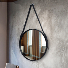Ремень для ванной зеркало Настенное подвесное декоративное зеркало в ванную комнату Ресторан настенное Искусство Круглый зеркало навесное wx8281346