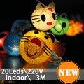 3 M Colorido RGB LED de Hadas Cadena Pájaro Gato Rana Luz 20LED AC220V NAVIDAD Decoración de Interior Bebé Niño Habitación Liht de Cuento de Hadas de La Lámpara