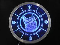 nc0356 Pit Bull Dog Shop Pet Animals Neon Light Signs LED Wall Clock