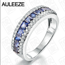 Noble Princess Cut 1.6CTTW Sapphire 14K White Gold Nutural Diamond Engagement Wedding Ring For Women Real Diamond Christmas Gift