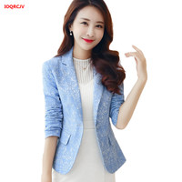 Spring Fashion Ladies Office Blazers Women Short Long Sleeve Small Jacquard Suit Coat Feminino Plus Size Slim Suit Jacket W891