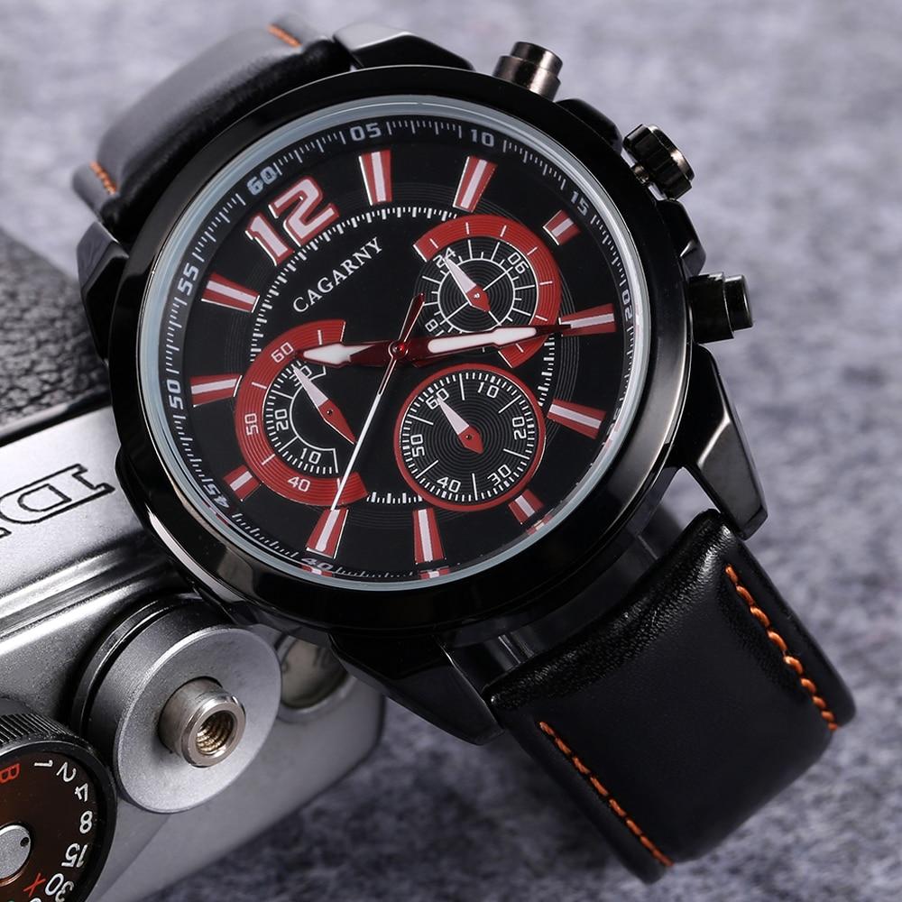 quartz wristwatches leather strap sports watches casual mens wrist watch black case 1 (5)