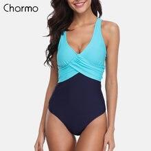 Женский слитный купальник charmo с цветными блоками перекрестными