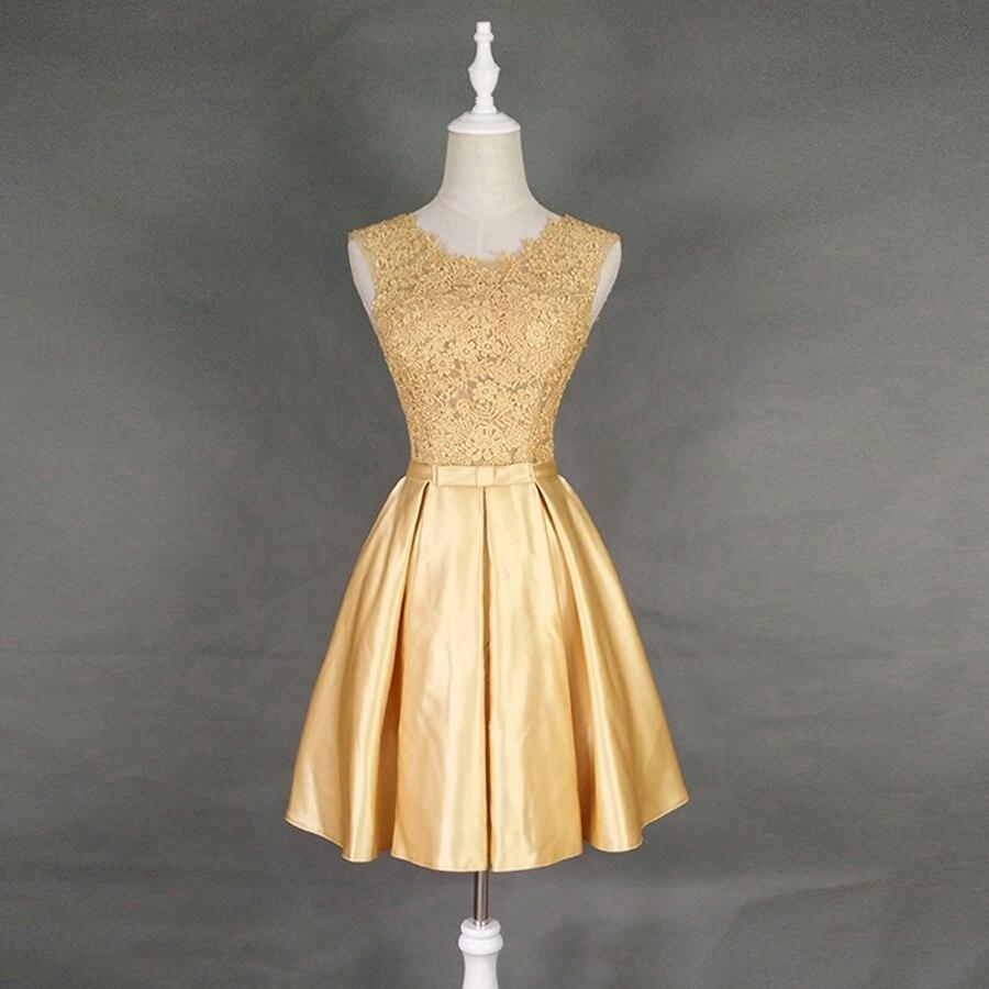 Robe demoiselle d'honneur 2018 lace and satin a Line gold silver champagne burgundy   bridesmaid     dresses   short cheap under $ 50