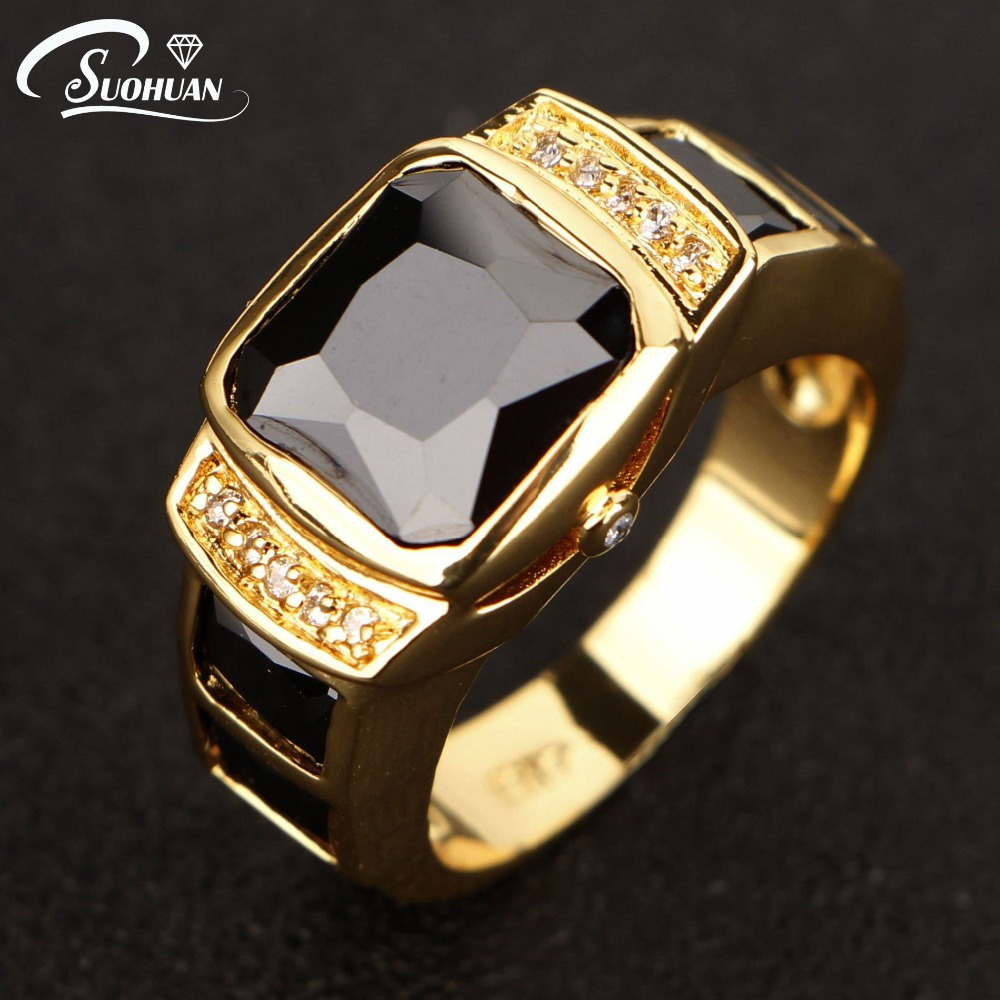 2017 New Fashion Men Jewelry Black Cz Diamond Men Ring Yellow Gold Filled  Male Ring Anniversary