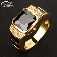 Fashion Man Jewelry Black Sapphire Rings Cz 18K Yellow Gold Filled Anniversary Ring For Men Gift