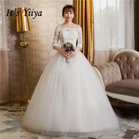 Free Shipping 2017 Plus Size Boat Neck White Lace Sleevs Wedding Dresses Princess Bride Gowns Frock