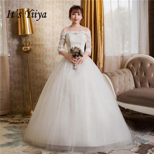 Frete Grátis 2017 Plus Size Boat neck Lace Branco Vestidos Da Princesa casamento Vestidos de Noiva Vestido Vestidos De Novia Sleevs HS248