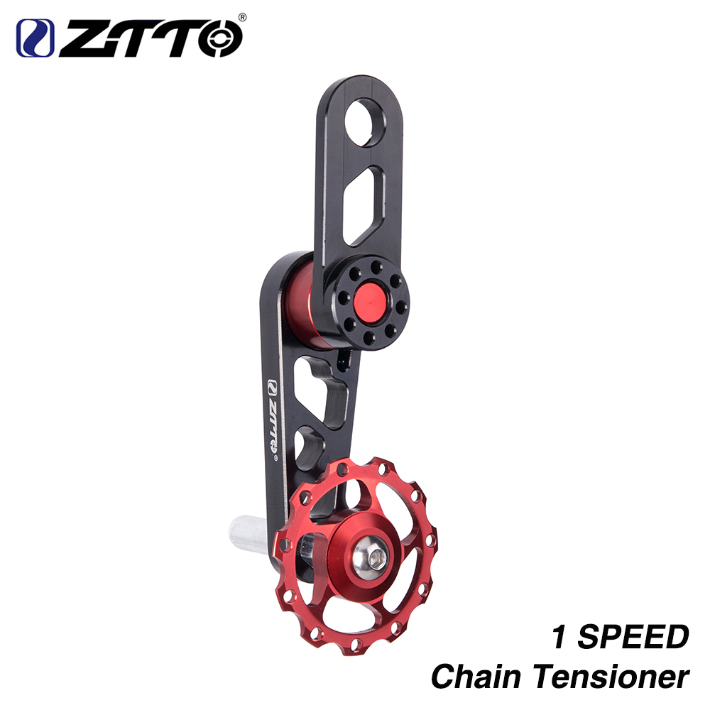 ZTTO Single Speed Bike Chain Tensioner Cycling Adjustable pulley jockey wheel Derailleur for 1speed folding bike city bicycle ztto 11t mtb bicycle rear derailleur jockey wheel ceramic bearing pulley al7075 cnc road bike guide roller idler 4mm 5mm 6mm