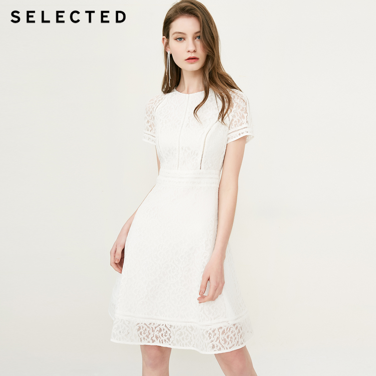 SELECTED women s new lace high waist slim dress S 41822J509