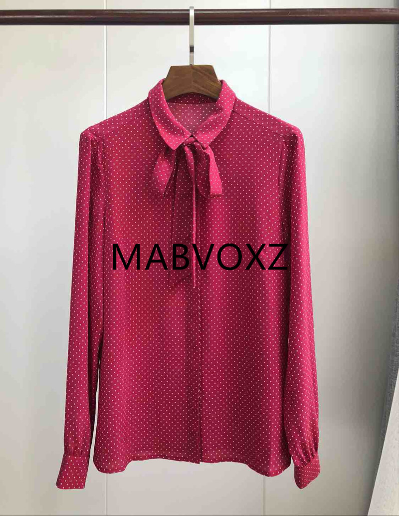 100 Silk Women Red Sweet Chemise Blouse Tie Bow Neck Long Sleeve Polka Dot French Style