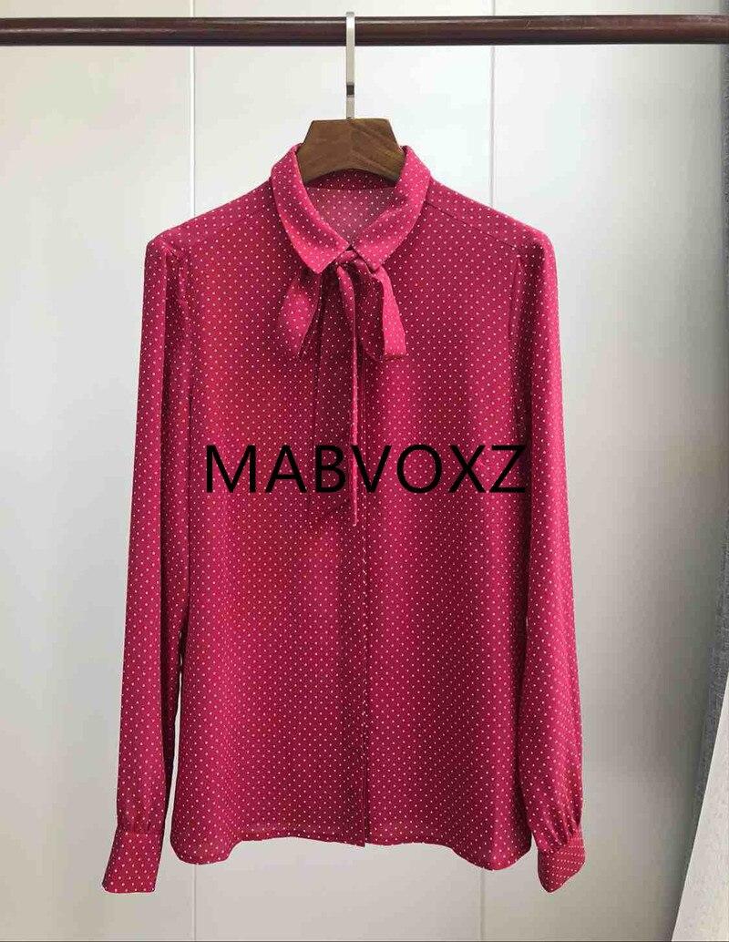 100% الحرير النساء الأحمر الحلو قميص بلوزة التعادل القوس الرقبة طويلة الأكمام البولكا نقطة الفرنسية نمط قميص أعلى-في بلوزات وقمصان من ملابس نسائية على  مجموعة 1
