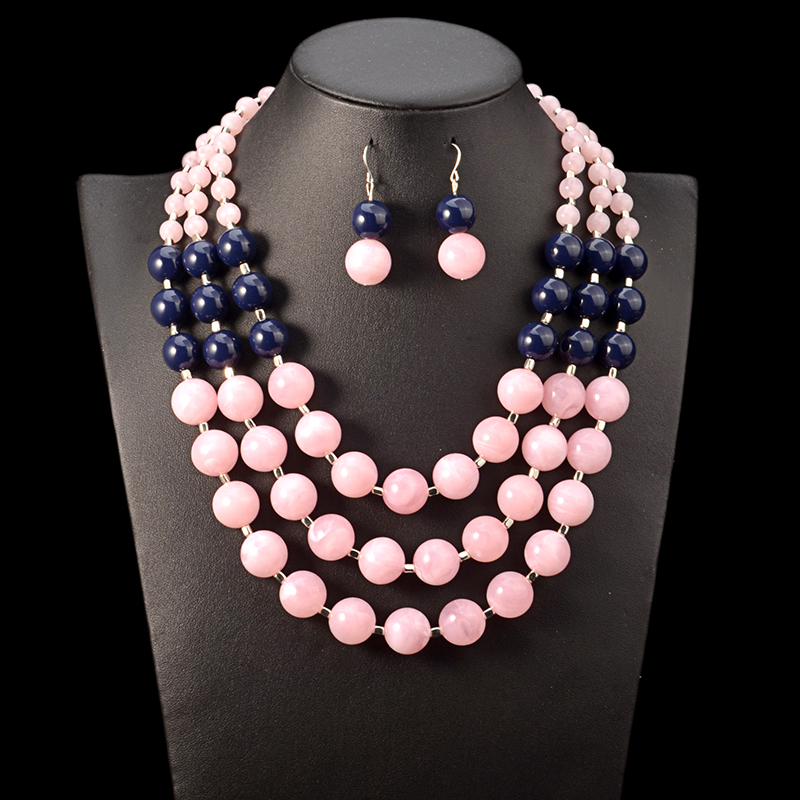 Multi-layer Two-tone Beaded Necklace and Earrings Set