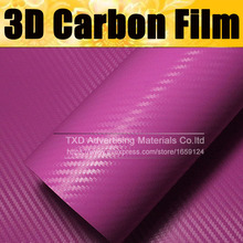 127CMX30CM Pink Carbon Fiber Vinyl Film Car Sticker Decal DIY 3D Car Styling Decorative roll sticker for Mobile Phone Laptop