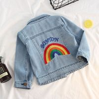 2019 New Spring Toddler Girls Jackets Clothes Rainbow Printing Denim Outerwear Baby Girl Buttons Coats Autumn Casual Wear 2 6T