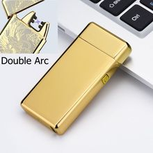 Metal Windproof Electronic Lighters Charging Double Arc Usb Electric Plasma Pulse for Smke Pipe Cigarette Cigar