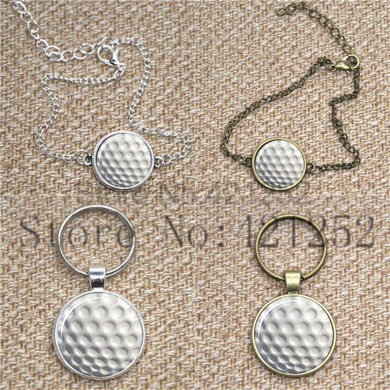 Golf ball Glass Photo Cabochon Necklace keyring bookmark cufflink earring