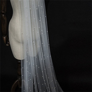 Image 3 - 2020 Long Bridal veils Wedding Veil White Ivory Tulle Pearls with comb Veil 2m velos de novia voile Mariage Perles Stars Starry