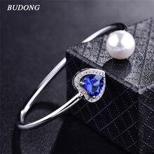 BUDONG Ladies Imitation Pearl Infinity Bangle Silver color Bracelet Heart Love Blue CZ Zircon Crystal Wedding