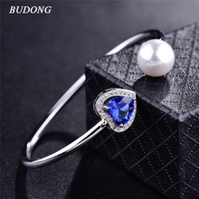 BUDONG Ladies Imitation Pearl Infinity Bangle Silver  color Bracelet Heart Love Blue CZ Zircon Crystal Wedding Jewelry Z048
