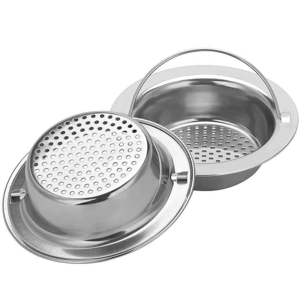 2PCS Upgrade Stainless-Steel Kitchen Sink Strainer (Hand-Held), Premium Drain Filter Strainer, Large Wide Rim 4.33 Inch Diameter