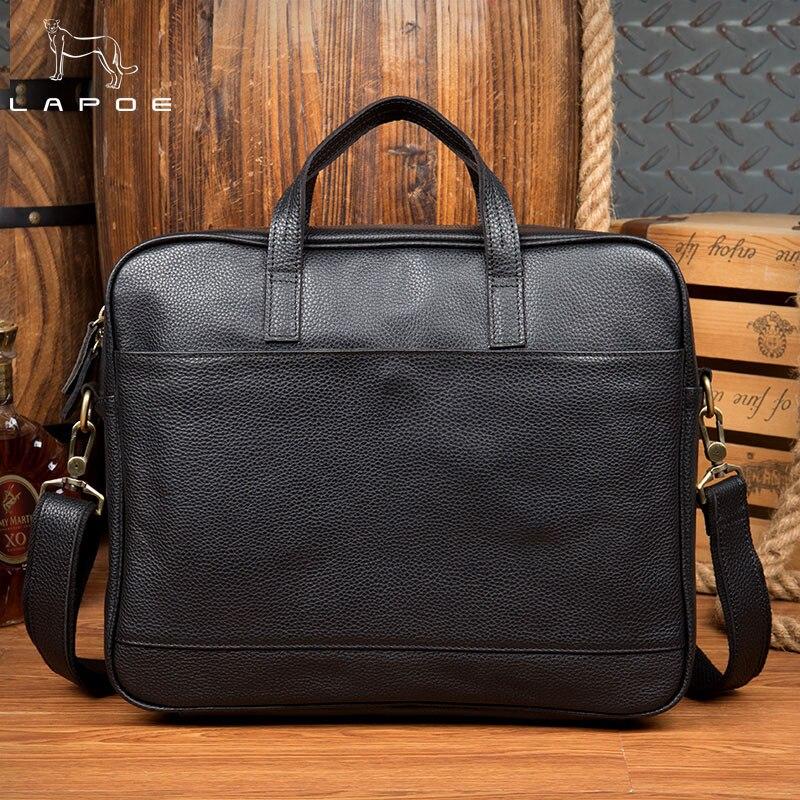 LAPO Business Briefcase Genuine Leather Famous Brand men briefcase, 15 inch commercial laptop briefcase, cross-body shoulder bag genuine leather men briefcase new fashion commercial laptop briefcase cross body shoulder bag n073