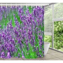 LB 180*180 Purple Green Shower Curtains Lavender Floral Waterproof  Polyester Washable Bathroom Curtain Fabric
