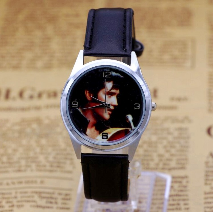 Elvis Presley Fashion Wrist Watch For Boy Girl Black Leather Band Color Picture alexis unisex wrist watches black dial water resist silicone black band boy girl orange fashion watch fw848t