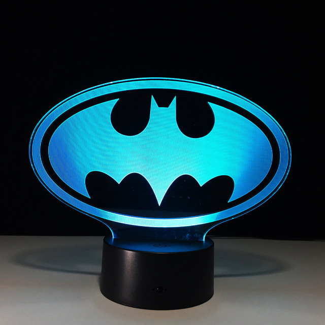 batman symbol 3d led light usb creative 3d lighting lamp visual night lights batman superhero. Black Bedroom Furniture Sets. Home Design Ideas