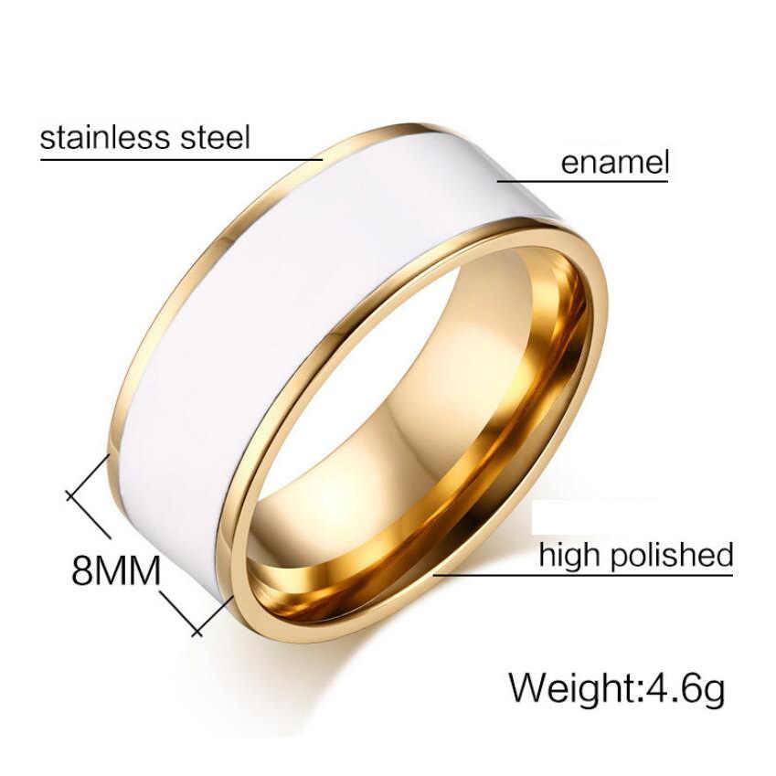 NIBAขายส่งแหวนแต่งงานสแตนเลสผู้ชายและผู้หญิงแหวนแต่งงานสแตนเลสเคลือบเครื่องประดับแหวน