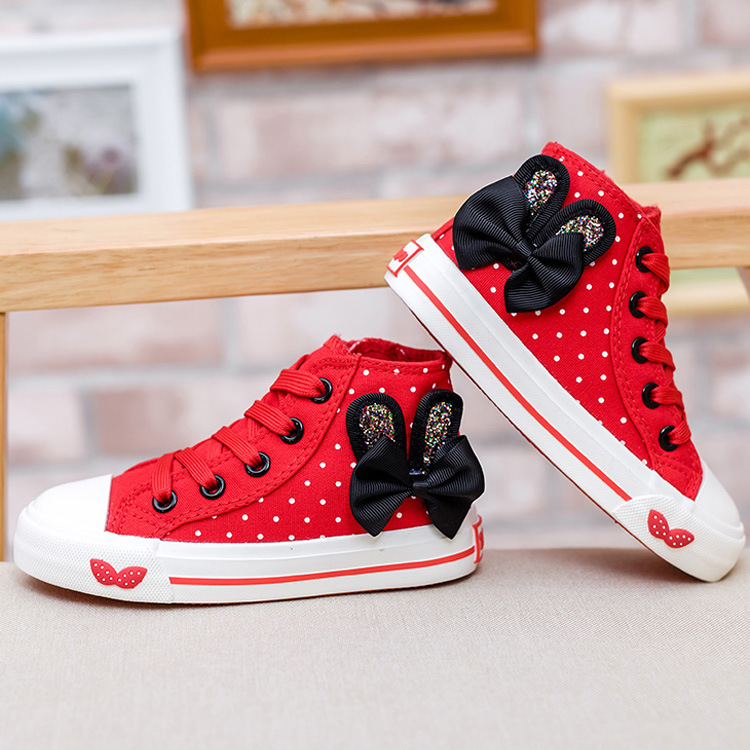 2017 Spring And Autumn Children Wave Point Princess Princess Shoes Girl Fashion High Cowboy Canvas Shoes Child's Shoes YXX