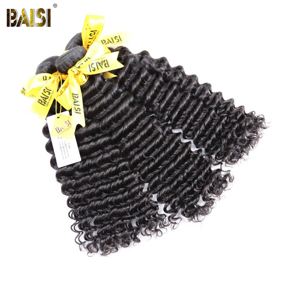 BAISI Hair Peruvian Deep Wave 10A Raw Virgin Hair 3 Bundles Deal 100% Unprocessed Human Hair