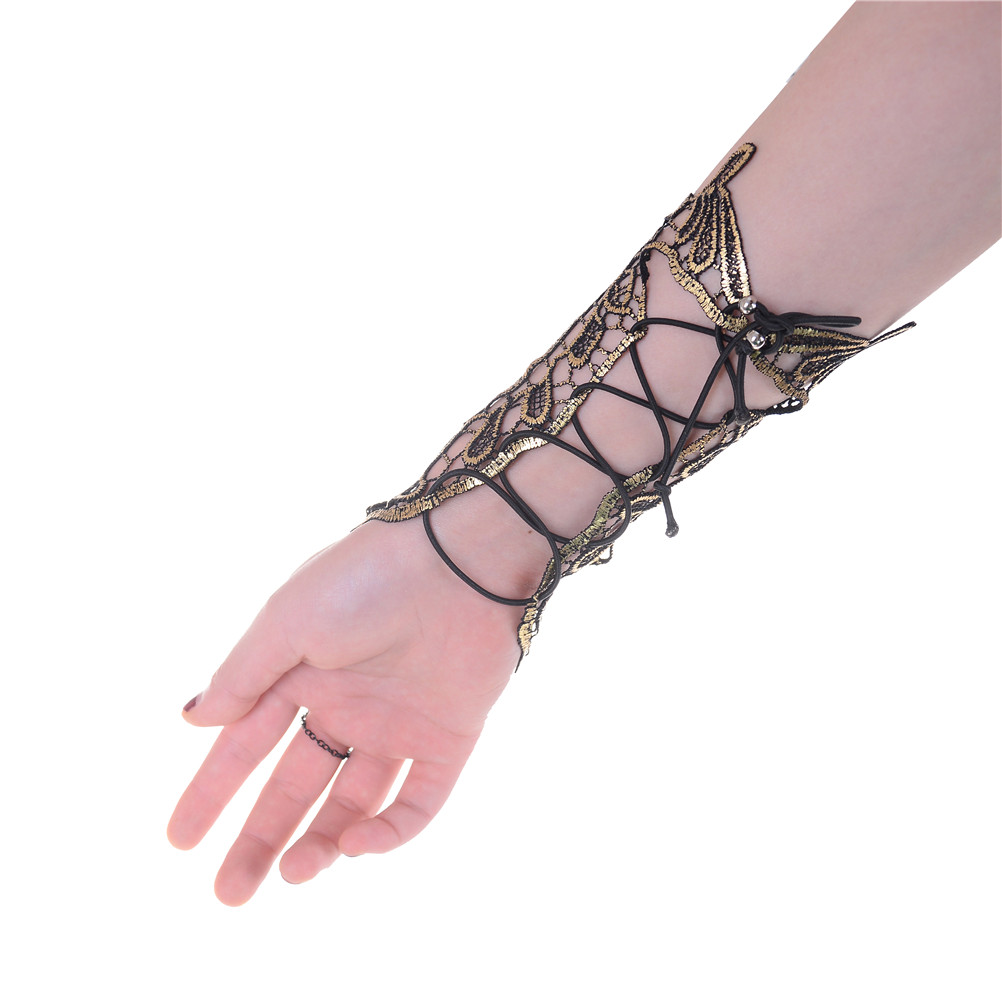 Sexy Steampunk Goth Party Costume Fingerless Gloves Ivory Lace Gloves