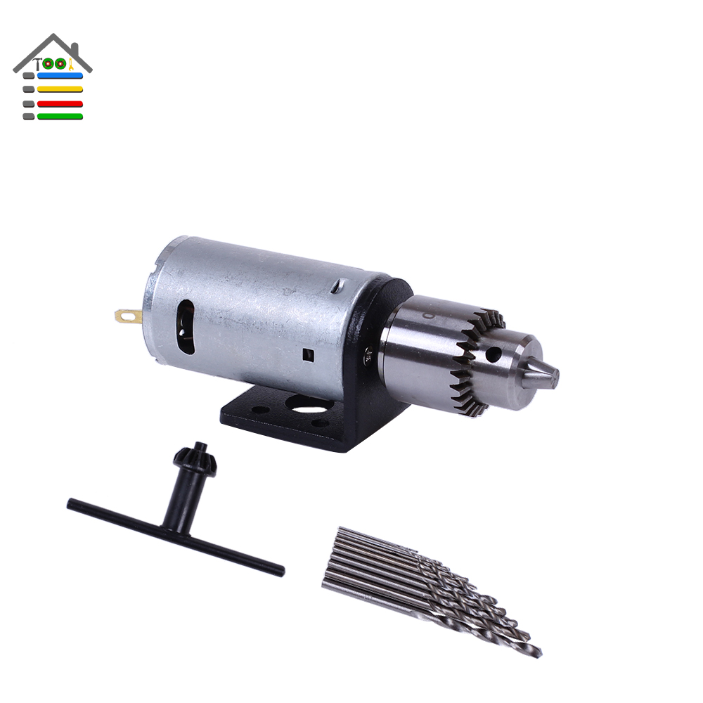 Mini DC 3-12V Electric Motor Wood PCB Hand Drill Press Drilling Set with 10PC 0.5-3mm Twist Bits and JTO Chucks Bracket Stand