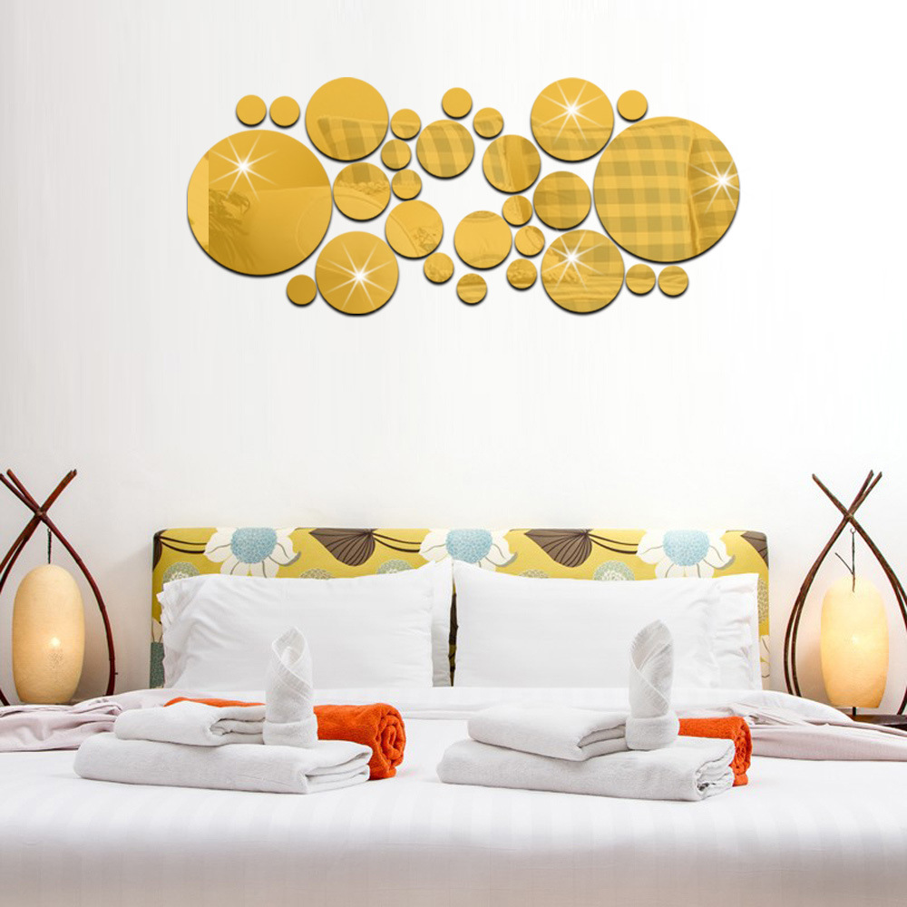 3d Large Size Round Dots Tree Wall Stickers Home Decor: 1 Set Fashion Acrylic 3D Mirror Round Dots Polka Wall
