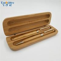 Vintage Boutique Klassische Bambus Roller Kugelschreiber Füllfederhalter Kugelschreiber und Bambus Bleistift-box für Hochzeitsgeschenke P061