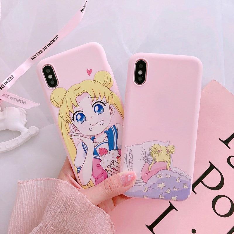 Pink Anime Japonês Sailor Moon Kawaii Caso de Telefone Para o iphone 6 6 Puls 6S 7 8 Puls X Casos TPU Macio Voltar Capa Coque