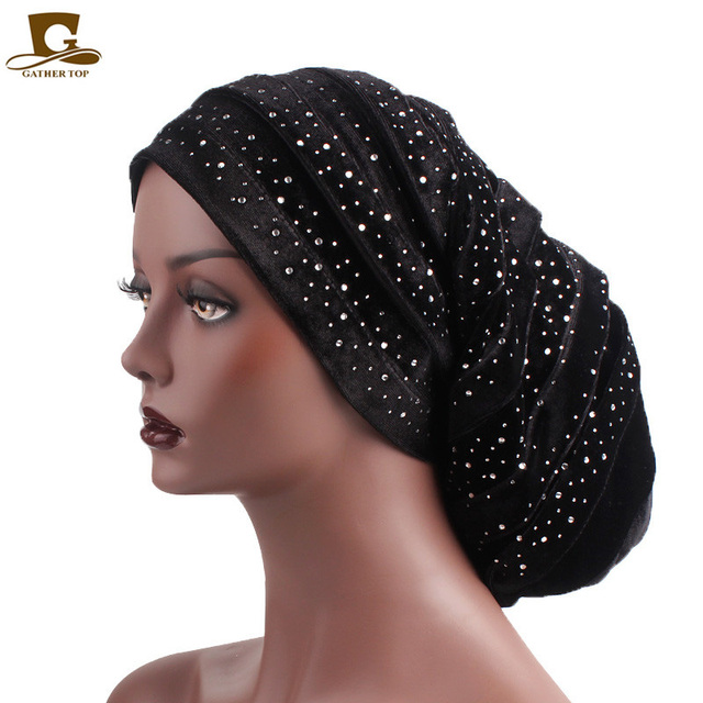 37dbd315ea4 New diamante velvet ruffle turban dreadlock sleeping baggy hat for Hair  Loss Bonnet Tube Comfortable Slouchy