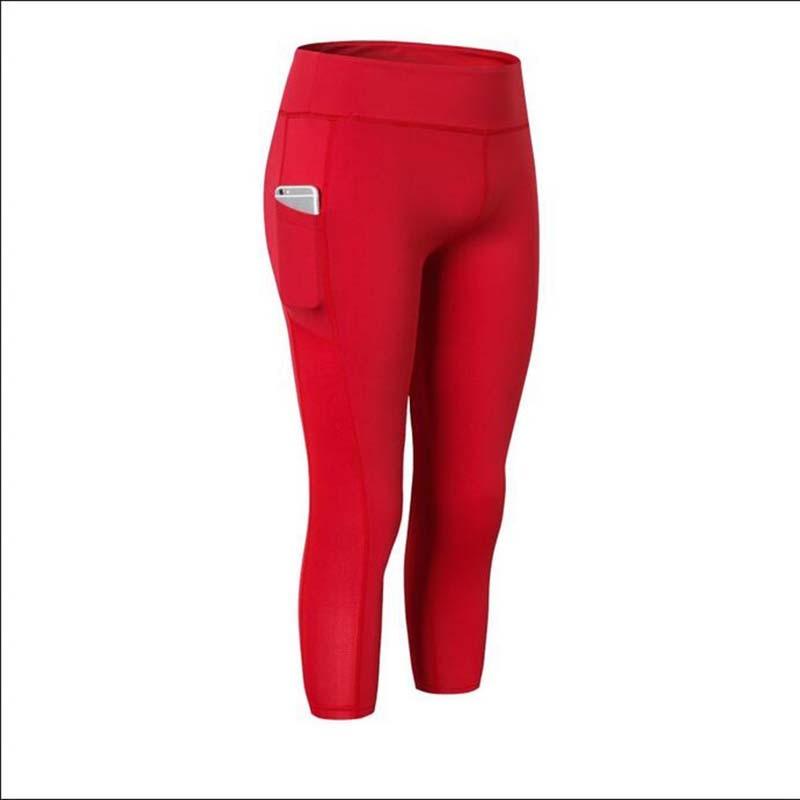 ✔  Женские боковые карманные штаны для йоги Фитнес-бег Упругие узкие быстросохнущие пот 7 шт. Спортивны ✔