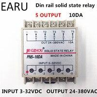 1pc 10DA 5 Channel Din Rail SSR Quintuplicate Five Input 3 32VDC Output 24 380VAC Single