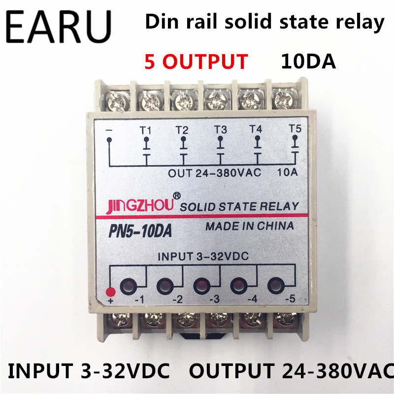 1pc 10DA 5 Channel Din Rail SSR Quintuplicate Five input 3~32VDC Output 24~380VAC Single Phase DC Solid State Relay 10A PLC Hot normally open single phase solid state relay ssr mgr 1 d48120 120a control dc ac 24 480v