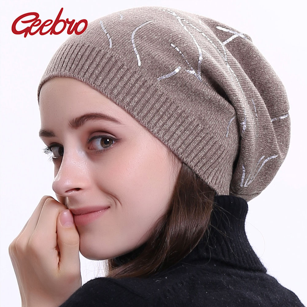 Geebro Women's Geometric Print Cashmere Beanies Hat Casual Winter Cashmere Knitted Hats Ladies Autumn Printing Beanie Cap DQ415N