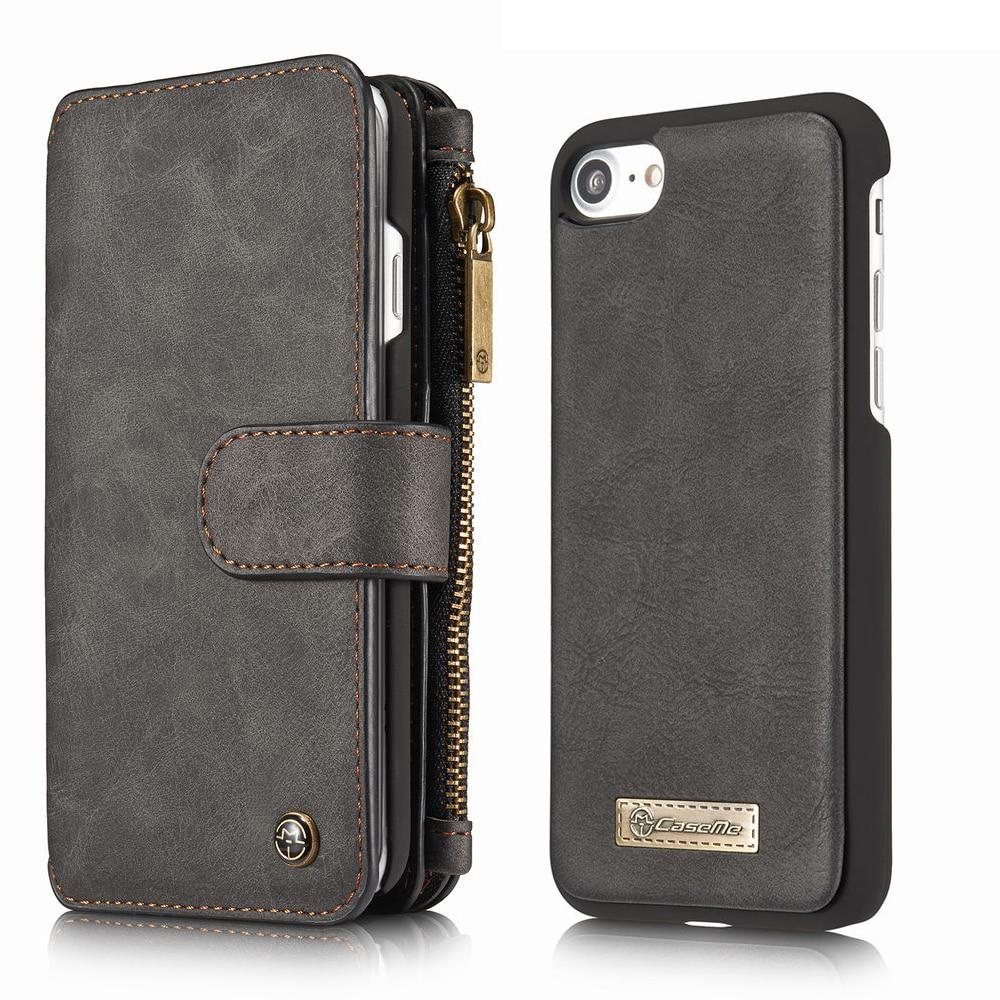 bilder für Für Luxus Echtes Leder iPhone 7 Plus Fall Brieftasche Reißverschluss Magnetische abdeckung Für Coque iPhone 7 7 S Plus Fall Flip Kartenhalter tasche