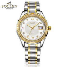 SOLLEN watches men luxury brand diamond men's steel strip quartz watch waterproof Stainless steel luminous