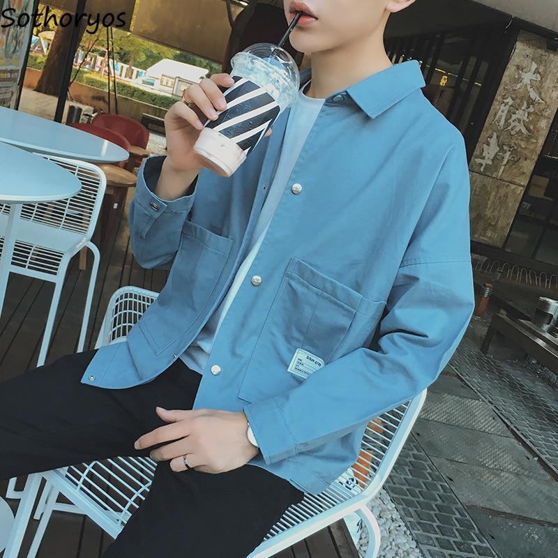 Underwear & Sleepwears Pajamas Sets Men Large Size Turn-down Collar Short Sleeve Pockets Leisure Single Breasted Simple All-match Korean Homewear Set Men's Pajama Sets