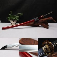 Hand Forged Katana 1095Carbon Steel Clay Tempered Samurai Sword Sharp Weapon Golden Fish Tsuba