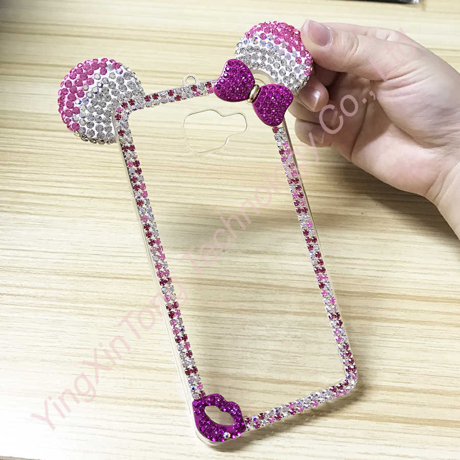 Luxury Rhinestone Case For Samsung Galaxy J3 J5 J7 2015 A5 2016 Fundas Capa Mickey Mouse Ears Bling Diamond TPU Phone Back Cover